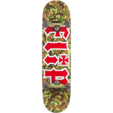 Skateboard That ledge will never even know what hit it when you sneak up on the Flip Team Combat Complete Skateboard. It comes completely assembled out of the box so you can use your new weapon of mass shreduction the moment it arrives on your doorstep. - $76.76