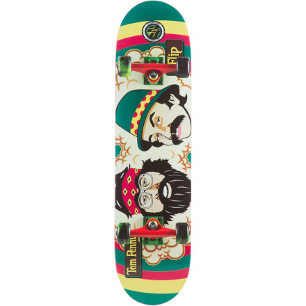 Skateboard Keep getting high every time you skate with the Flip Cheech And Chong Rasta Complete Skateboard. P2 construction features a maple and KEVLAR veneer sandwiched between traditional maple plies to create better rebound and long-lasting pop. - $89.96