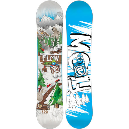 Snowboard The Flow Kids' Micron Mini Snowboard provides youngsters with the appropriate technology and shaping to keep them progressing and impressing, such as the forgiving EZ-Rock camber/rocker profile and catch-free Z-DualTransitional sidecut. Whether it's riding the lifts or getting established on the magic carpet, the Micron Mini brings huge stability and control in tow. - $95.99