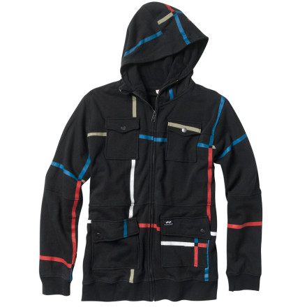 Snowboard The Foursquare Line Full-Zip Hoody won't make you ride like or even think the same weird thoughts as Peter Line, but it will help you stay warm. Take what you can get. - $31.46