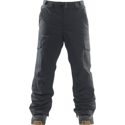 Snowboard The Foursquare Mens Studio Pant is all about comfort with its strategically placed mesh and nylon taffeta lining panels. Fully taped seams reduce leakage, and dual cargo pockets provide plenty of room to carry snacks, keys, and anything else you just have to have at the mountain. - $55.98