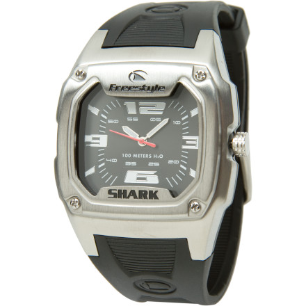 Entertainment The Shark Analog Watch keeps you on top of time without having to sacrifice function for style. With Freestyle's legendary durability and water resistance, the Shark Analog Watch goes from the surf to the board room without keeling over. - $38.47