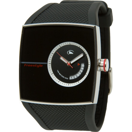 Entertainment Get wicked tan lines on your wrist because of the Freestyle USA Karlton Watch. No one will ever see them, though, because youll want to keep this watch on all the time. Its waterproof (100m) for your Saturdays in the cove and modern enough to wear when you meet your girlfriends girlfriends from art school. - $62.97