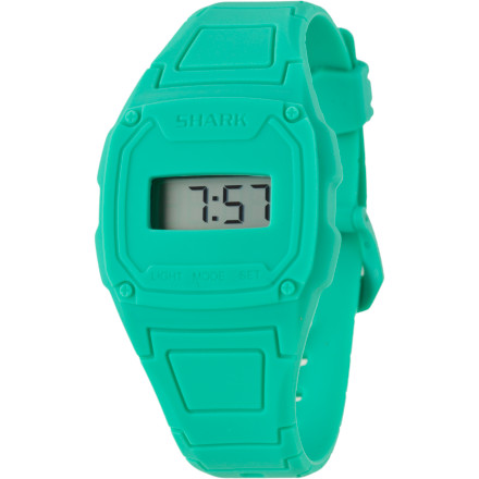 Entertainment The Freestyle USA Women's Shark Slim Watch is sporty, fun, and easy to wear in any situationfrom paddling out to going to work (and whatever trouble you have planned for afterward). The Shark Slim's digital module is easily removable, making it easy to adjust the time and replace the battery. - $34.95