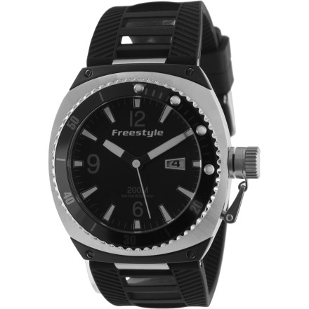 Entertainment The Freestyle Trench PU Watch features a burly stainless-steel casing and a sporty, marine-friendly polyurethane band. Suitable for surfing, swimming, or just being suave. - $122.46