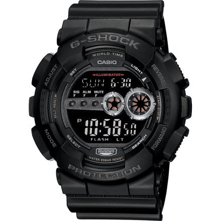Entertainment The G-Shock GD100 Watch keeps the same oversize style as predecessors in the popular analog-meets-digital GA100 X-Large series, but scraps the analog functionality for a simplified all-digital version. Durability and sport-specific functionality remain, as do the accurate time-keeping and solid looks. - $98.95