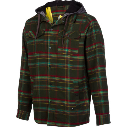 The Gnu Riding Shirt takes you wear no flannel has gone beforeor at least bringing you back without a caked-on layer of snow. That's because this lumberjack flannel comes equipped with weather-resistant material and a softshell hood so you ride it in the storm without having to retreat to the lodge. - $76.97