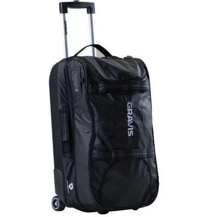 Entertainment Pack your gear into the Gravis Jetway Rolling Bag and get lost for the weekend. This rolling gear bag opens like a book to make packing and unpacking a breeze. Gravis included a small bag for your dirty underwear, and gave the Jetway internal pockets to keep you organized. With a medium capacity and a size that fits into most airlines' overhead compartments, this travel luggage gives you plenty of storage space for extended weekend adventures. Custom Gravis wheels and a telescoping handles make it easy to transport the Jetway toA wellA the jetway. - $179.96