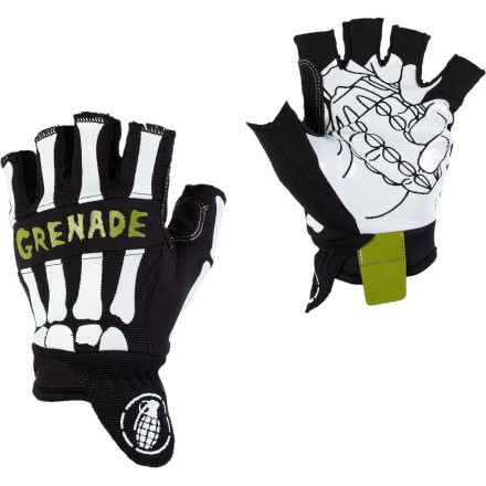 The Grenade Bender Fingerless Glove lets you rock some heshed-out hobo style without shredding your palms when it's time to get rad. Sticky synthetic suede helps you hold onto grabs or cold ones with equal prowess. - $16.22