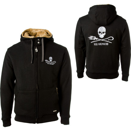 You can start your own crew of whale-boat-ramming activists when you wear the Hemp Hoodlamp Sea Shepherd Furry Full-Zip Hooded Sweatshirt, the proceeds of which helps fund the Sea Shepherd Conservation Society. Organic and hemp materials make up this fuzz-lined hoody, which looks great as you stand on the deck of your vessel and chase down animal poachers or rally a crew in your land-locked town. - $174.36
