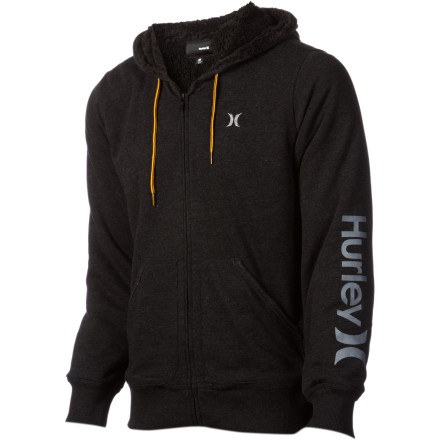Surf Travel within a 100-meter radius of the Hurley Men's Only One Full-Zip Hooded Sweatshirt and you'll instantaneously feel better about life. This smooth, comfortable hoody radiates goodness. A loose, roomy fit keeps your style on the casual side, and the three pocket design has more than enough room for your mp3 player, phone, keys, and backstage passes to an 80's, revivalist punk band. - $63.56