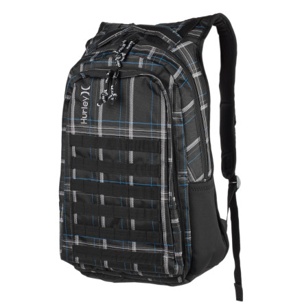 Camp and Hike Strap on the Hurley Oxford Laptop Backpack before you wander out into the urban wilderness. This streamlined pack is great for hauling books, high-fructose sustenance, or legally questionable art supplies. - $34.97