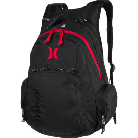 Camp and Hike The One Laptop Backpack from Hurley hauls your gear for the daily grind in body-contoured comfort. Whether you're trying to survive a day of school or escaping for an overnight adventure, this pack makes it easier to get around. - $59.95