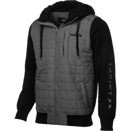 Surf The Hurley Dual Zip Men's Jacket isn't your average hoodie. Quilted polyfill insulation adds more warmth than you could dream of in a regular sweatshirt, and the extra-high collar helps shield you from frigid winds. - $27.81