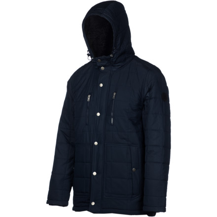 Surf Beat those mid-winter blues with the Hurley Chaos Men's Jacket. This parka-length jacket is Sherpa fleece-lined and filled with synthetic insulation to keep you warm on cold December nights, and it's DWR-treated so you stay dry if you get caught in the snow when you're out of the town. - $139.62