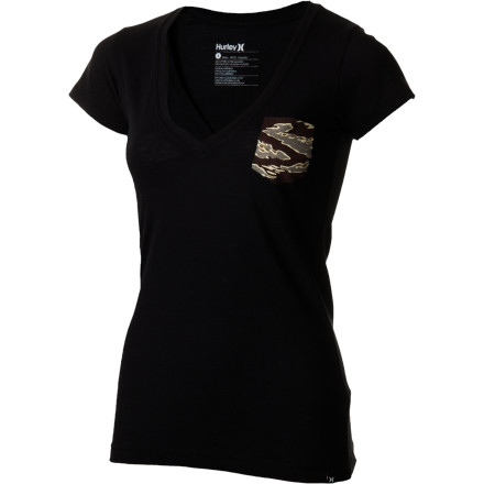 Surf After a few solid surf finishes, put on the Hurley Women's Flammo Pocket V-Neck Short-Sleeve Shirt, construct a killer athlete resume, and start knocking on sponsors' doors to help you accomplish your surf dreams. - $12.07