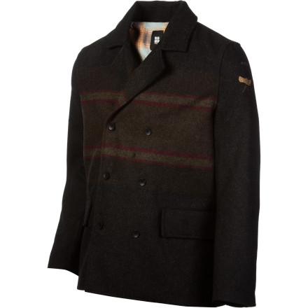 Surf Need something a little classier than your favorite hole-ridden hoodie The Insight Downtown Shooter Jacket combines classic reverse-collar pea coat looks with a fresh jacquard stripe pattern to keep you looking good in any situation. - $82.47