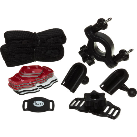 Fitness The iON Helmet and Bike Kit includes all the mounting hardware you need to attach your iON helmet camera to your bike handle bars, bike frame, or helmet. Each of these mounts has a quick, locking attachment so you can remove your camera when you're not riding, and each mount allows you to rotate your camera or change the aim of your camera vertically. Attach one of these tough, lightweight mounts to your gear and start bagging footage.Mount rotates 360 degrees for easy aiming and positioning Make aim adjustments by tightening or loosening the single cam ring located on the mounting surface just below the camera Mount is compatible with iON's full line of Air helmet cameras Kit includes a short ball join, helmet mount, sticker and foam fitting piece, bike mount, a short mount strap, three small, double-face stickers, an l-shape ball joint, a medium mount strap, and two foam stickers - $69.99
