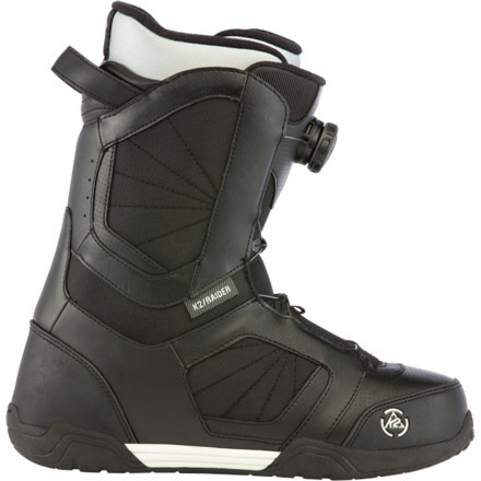 Snowboard The mid-flexing K2 Raider Boa Snowboard Boot sports the easy-to-use Boa Coiler lacing system that lets you spend more time riding and less time adjusting your boot fit. Intuition Comfort 3D liners provide anatomically correct support for controlled, comfy cruising from peak to park. - $119.97