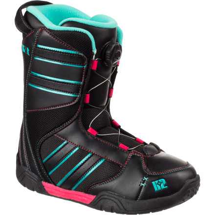 Snowboard The K2 Kat Boa Snowboard Boot takes the hassle out of tightening laces with a super-convenient twist-and-go lacing system. The custom-moldable liner ensures a proper heel fit with no slip, and the Grows-A-Long construction means you won't have to worry about unexpected growth spurts. - $71.97