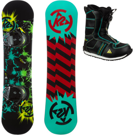 Snowboard Get your mini-me the K2 Mini Turbo Grom Package and set him loose on the slopes. This progression-oriented package features a full board, boot, and binding setup that will take him from linking his first turns to sliding his first box. - $185.97