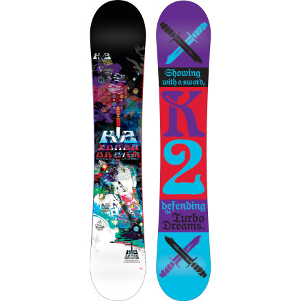 Snowboard The K2 Turbo Dream Snowboard is packed to the gills with high-tech features designed to make all-mountain freestyle more fun than ever. The moderate flex, all-new Tweekend profile, and Harhsmellow dampening create a responsive yet manageable ride that excels everywhere from waist-deep pow to the jump line in the park. - $299.97