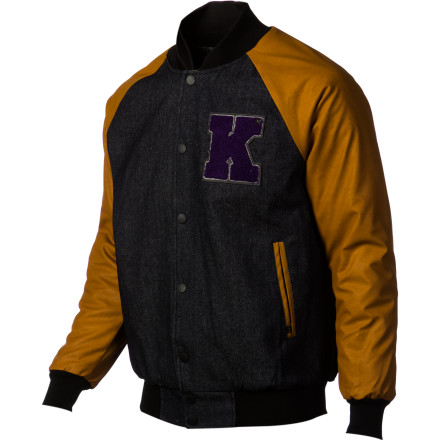 The jocks won't be laughing when you're stealing their girlfriends while wearing the KR3W Breakdown Men's Jacket. It has a letterman style to it, but with a denim body and faux leather sleeves that look way better than your lame school colors. - $69.97