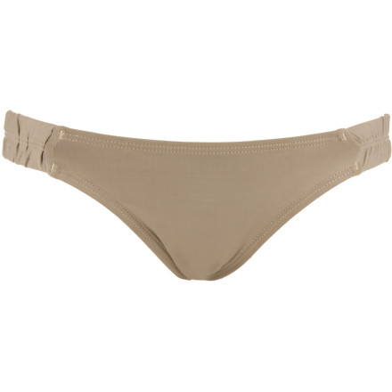 Surf The L Space Riviera Scanty Bitsy Cut Bikini Bottom shows off your bod with a teeny, tiny cut. Ruched sides add a feminine touch and the quick-drying fabric means you won't feel damp after a soak in the sea. - $41.97