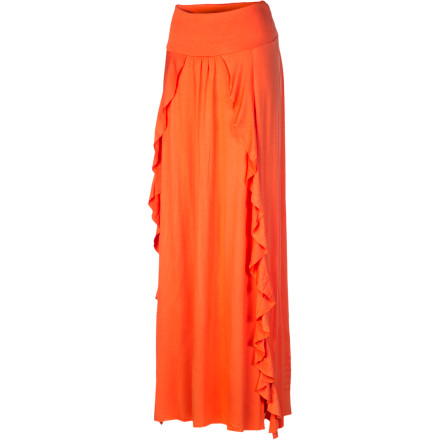 Heads turn and the music stops: you've just arrived in The Collection by L*Space Women's Seville Skirt. Dramatically long and flowing, with leg-baring slits on either side, this stylized piece is equally suitable at pool or cocktail parties, dinner, dancing, or a summer's-day stroll on the boardwalk. In fact, if you sport a strong, sexy attitude, you could pull off this class act almost anywhere. - $153.95