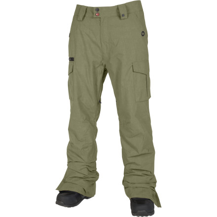 Snowboard You've been deployed to the trenches with the military field cargo pant inspired L1 Iggy Pant. The Iggy features a durable ripstop material that has been vintage-washed and aged for a broken-in look and feel. Light but toasty 40g polyfill insulation keeps the blood flowing on cold days but never overheats. Store your items safely in the convenient cargo pockets on the thighs, and an additional pocket on your right with an exposed, contrasting zipper. The Iggy features L1's regular fit which is comfortably situated between alpine-thug and shred-gypsy styles. - $76.98