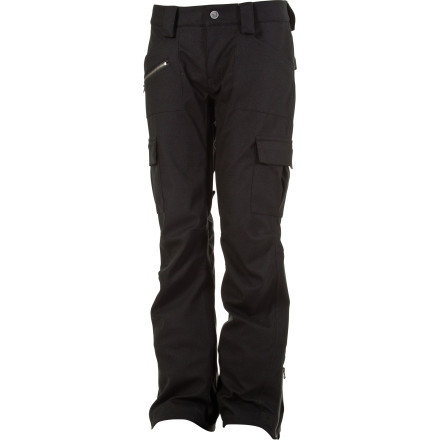 Snowboard The L1TA Women's Sloan Pants were made for deep post-storm shred days when calling in sick is the only option. Slide your stems into these industrial-strength snowboarding bottoms and let the heavy-duty twill give you the rugged look you want and the moisture-resistant tech and cozy insulation you need to keep you dry and warm. - $114.98