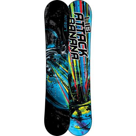 Snowboard The ultimate every-mountain weapon is now available to you, the large-of-foot. The Lib-Tech Attack Banana EC2-BTX Wide Snowboard replaces entire quivers of boards with its EC2-BTX camber, which gives you the best of all worlds with catch-free rocker between your feet and a cambered tip and tail for hardpack control. - $347.97