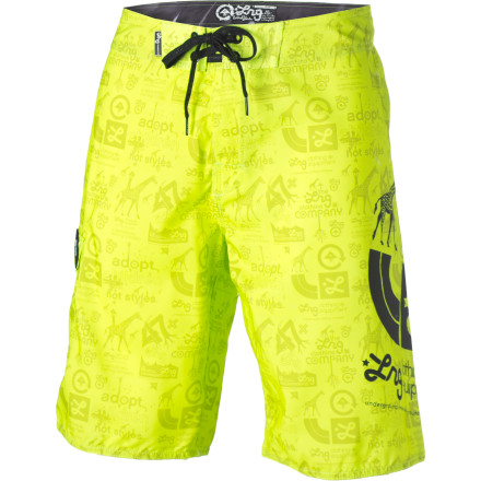 Surf The LRG Neon Icon Board Short features lightweight, soft, and fast-drying poly fabric to keep you comfy and chafe-free from the beach to the bar crawl. - $24.48