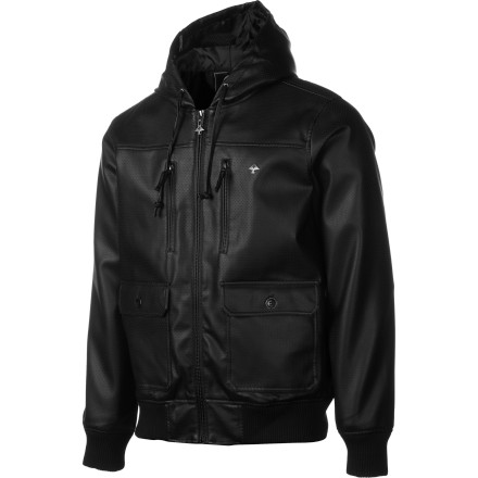 The LRG Core Collection Perf Faux Leather Jacket has an uncanny power to make you look good while simultaneously looking bad. This is no easy feat for most jackets, but the Perf Faux Leather Jacket pulls it off with its hoody-meets-jacket style and elastic ribbing trim and logo accents. - $90.27