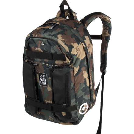 Skateboard The LRG C.C. Skate Backpack wants to organize your hectic life. The large main compartment can hold everything you need for school or work, and the vertical skateboard carry straps can serve as your getaway plan. - $53.95