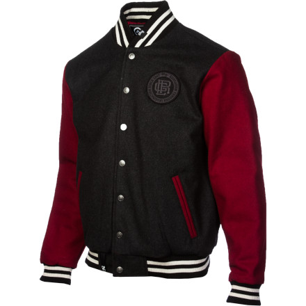 Next time you're driving by campus, pull up to someone while wearing your LRG Charter School Letterman Men's Jacket and ask them where the library is. When they start to answer, yell 'nerd!' and drive away while high-fiving your bros. You already have the snap front, contrast welt pockets and sleeves, and striped ribbed collar, hem, and cuffs, but you needed that experience to complete the picture. - $87.97