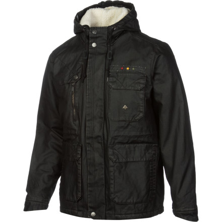 You won't mind hanging out in the rain for a bit while you wait for your delivery man on the corner in the LRG Herbsman Men's Jacket. The coated canvas fabric repels light moisture to keep you dry, and three flap-closure pockets and a zippered chest pocket provide plenty of room to store your trees when your package arrives. - $125.97