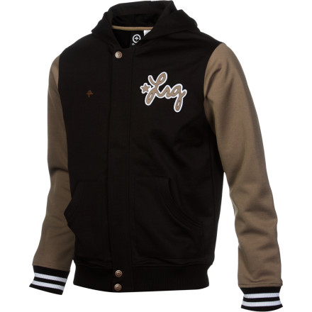 Bring your varsity skills to the skatepark when you show up in the LRG Ground Up Men's Track Jacket. This letterman-inspired jacket will keep you toasty while you get warmed up so you're ready when it's time to step your tricks up to pro-level status. - $71.16