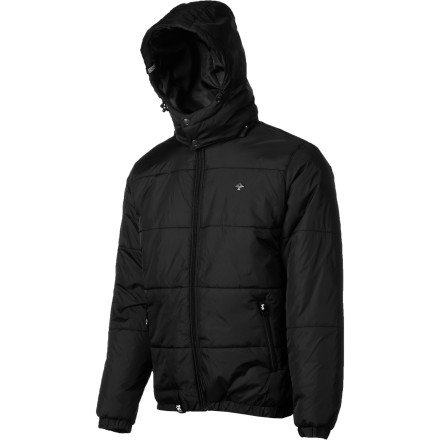 Gear up for a cold night of bar-hopping in the LRG Core Collection Puffy Men's Jacket. It's insulated to keep you toasty and the nylon shell repels water if you get caught in a flurry between venues. It also has a removable hood that you can ditch before you head out when the wind isn't howling. - $73.47
