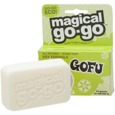 Snowboard Nothin says lovin like eco-friendly warm wax. Use the Magical Go-Go GOFU Warm Temp Wax for spring shredding or just to get that furry hair off of your legs and other body parts. This Magical Go-Go stick works as a hot wax or a rub-on, but probably not too well as a Brazilian. - $7.46