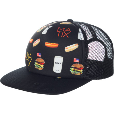 The Matix Amurica Trucker Hat hasn't forgotten that a true patriot can crush a beer can on his head. - $11.68