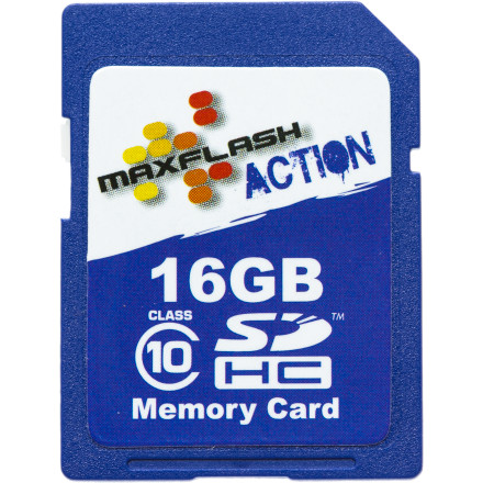 Entertainment Maxflash designed the 16GB Action SDHC Card Class 10 specifically to provide high-speed data storage for POV cameras that take on high impacts, extreme temperatures, and unpredictable environments. The company tests its memory cards for compatibility and performance with all the major helmet camera manufacturers, and with a ten year warranty and lightning-fast read and write speeds, this is as good as a compact memory card gets.Class 10 rating makes this one of the fastest read/write storage solutions for digital cameras Read speeds up to 20 MB/s and write speeds up to 15 MB/s so you can record in full HD without any hiccups in performance or buffering issues Card operates in a temperature range from 0 degrees Centigrade to 70 degrees Centigrade Tested to withstand high levels of shock from impact while installed in a sports camera or POV camera Compatible with digital cameras and POV cameras that accept SDHC memory cards for storage - $31.95