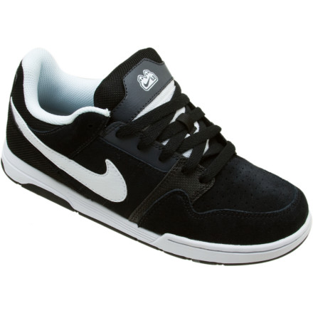 Skateboard The Nike Boys Mogan 2 Jr. Skate Shoe keeps your little skaters feet protected, comfortable, and looking like a pro. Whether your grom hangs from the jungle gym hits the driveway to learn his first ollie the flexible leather and suede uppers of this shoe will keep him feeling on top of the world. A grippy, rubber sole provides plenty of traction, while the padded mid-sole cushions his from the daily bumps and bruises of being young. - $24.98