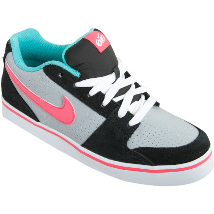 Skateboard Stir up your girls stagnant skate sessions with the Nike 6.0 Girls Ruckus Low Jr Skate Shoe. Not only will the rubber outsole grip her board so she can skate around the park with confidence, but the fresh leather and suede upper gets loads of looks as she rolls by with the Nike logo highlighting her coolness like a giant spotlight. A padded tongue, collar, and insole feels great as she skates for hours, and the perforated forefoot prevents her from getting super sweaty feet that could funk-ify her new favorite shoe. - $23.98