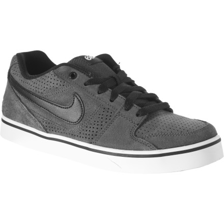 Skateboard Satisfy your boy\222s board-obsession when you get him the Nike 6.0 Boys\222 Ruckus Low Jr Skate Shoe. He can kick around his skateboard all afternoon with the tough leather and suede upper taking the abuse of skating\222s steep learning curve, and with a perforated forefoot his toes don\222t get sweaty and develop blisters in less than an hour. The padded tongue, collar, and insole keep him comfortable and far from quitting, while the grippy rubber outsole helps him land a trick here and there to give him a taste of his future skate career. - $28.77
