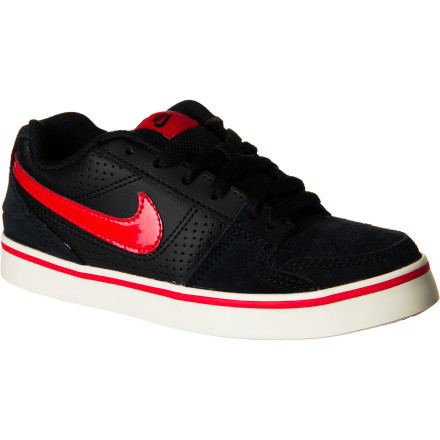 Skateboard Bring the ruckusthe Nike Boys' Ruckus Low Jr Skate Shoe is a lightweight kick with sturdy materials and clean looks. From pushing a board to just kicking it, the Ruckus Low definitely knows how to cause a scene. - $28.77