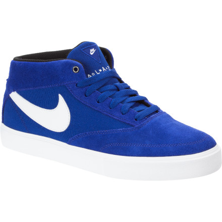 Skateboard The Nike Omar Salazar LR Skate Shoe featuring Lunarlon technology delivers a performance fit and feel while presenting the classic look of a vulcanized mid-top. So whether you're jumping out of windows and dodging traffic while evading secret agents or just skating your hardest, you will appreciate this unique shoe. - $48.72