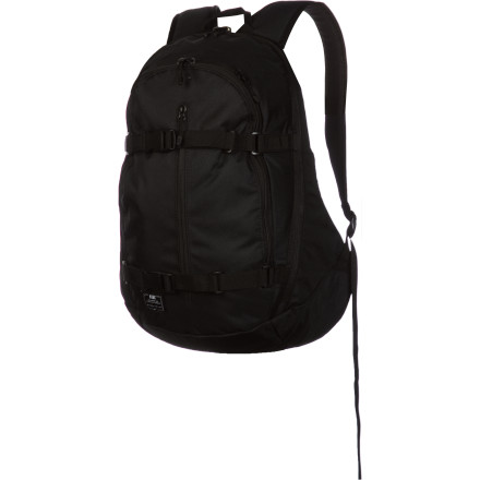 Skateboard Grab the versatile Nike Hi Backpack and head for school, work, the skatepark, or even the wilderness. The Hi has comfortable, adjustable straps, a padded laptop sleeve, and adjustable board carry. You can also choose the camo version so your position isn't given away during covert operations. - $41.97