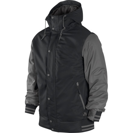 Snowboard Give Old Man Winter a swirly with the Nike Snowboarding Hazed Jacket. This varsity-style shred jacket features lightweight poly insulation and a Storm-FIT laminate for protection against cold, stormy weather, and rib-knit cuffs and hem for a classic letter-jacket look. - $125.98