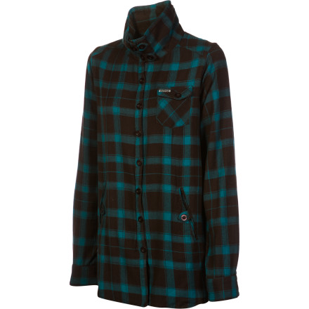 Enjoy the comfort and warmth of the Nikita Delano Shirt as you cheer on your high school or college soccer team during the last game of the season. This cozy button-up shirt features comfy hand pockets for you to stash your chilly fingers and cell phone in while you boo the ref for a bad call. - $35.37